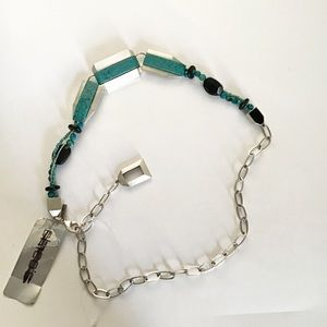 Modern Turquoise Beaded Western Chain Belt S/M